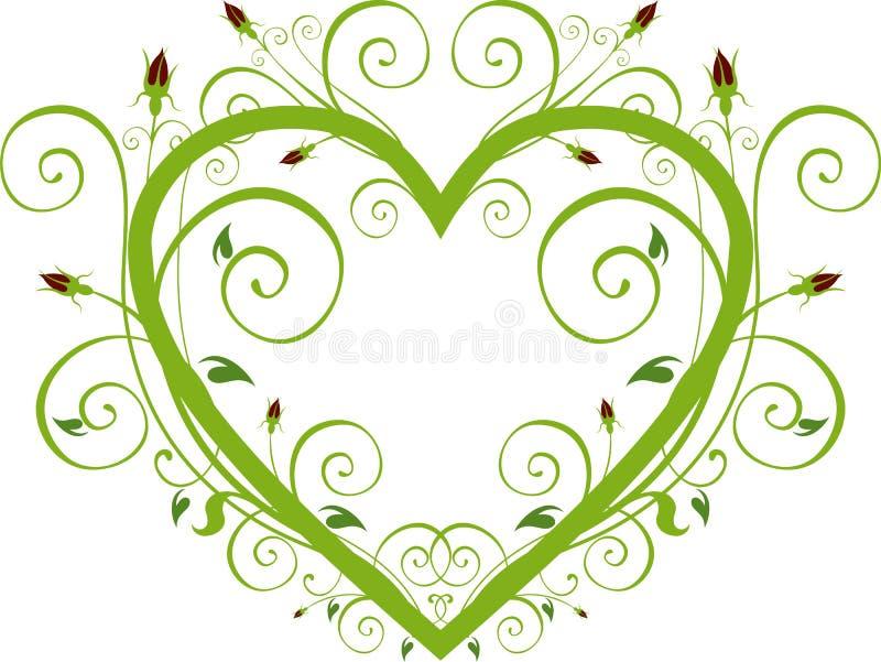 Cuore floreale della Rosa illustrazione di stock