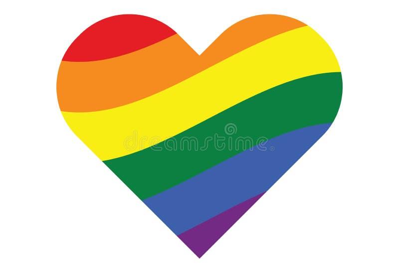Cuore gay di simbolo dell'arcobaleno di LGBT illustrazione di stock