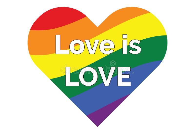 Cuore gay di simbolo dell'arcobaleno di LGBT illustrazione vettoriale
