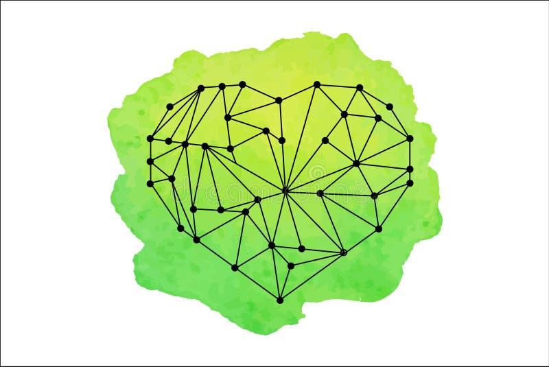 Cuore geometrico su struttura dell'acquerello fotografia stock libera da diritti