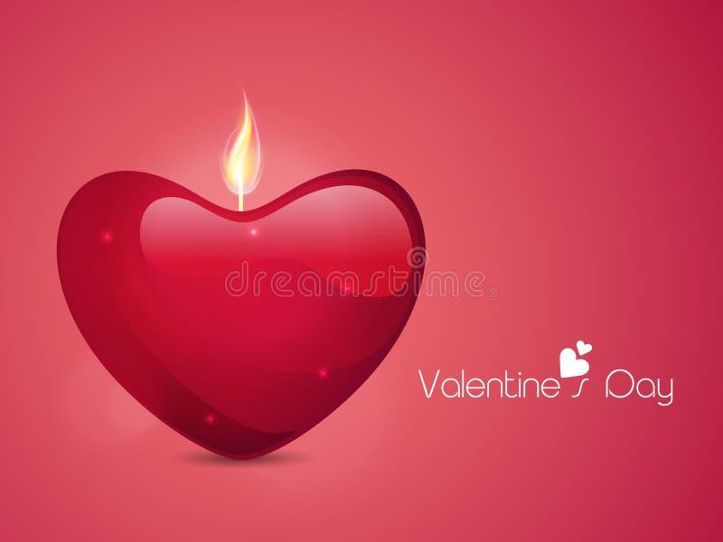 Cuore illuminato della candela per la celebrazione di San Valentino royalty illustrazione gratis
