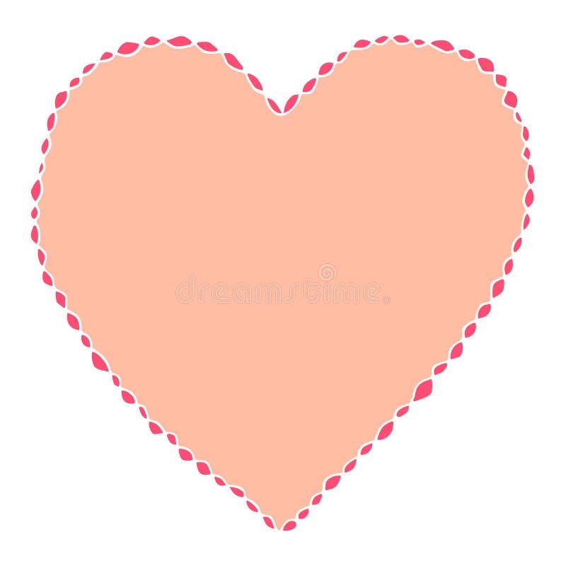 cuore isolato disegnato a mano di vettore, valentine' simbolo di giorno, fondo delle carte di regalo illustrazione vettoriale