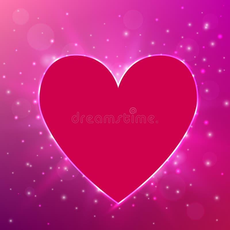 Cuore leggero rosa su fondo brillante Fondo di amore Concetto di giorno del ` s del biglietto di S Illustrazione di vettore illustrazione vettoriale