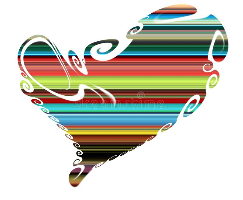 Cuore Linee allegre isolate variopinte, rosso e verde del cuore fotografie stock libere da diritti