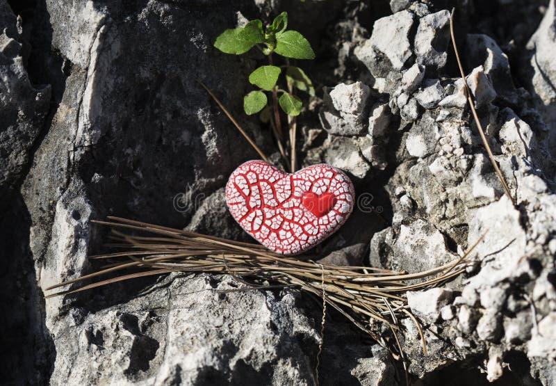 Cuore macchiato rosso su una roccia immagini stock