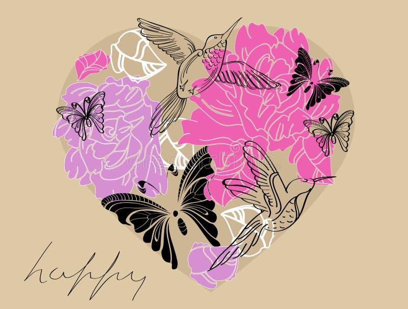 Cuore marrone del biglietto di S. Valentino e dentellare floreale illustrazione vettoriale