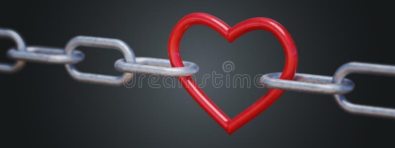 Cuore metallico rosso in catena su fondo nero 3D ha reso l'illustrazione illustrazione di stock