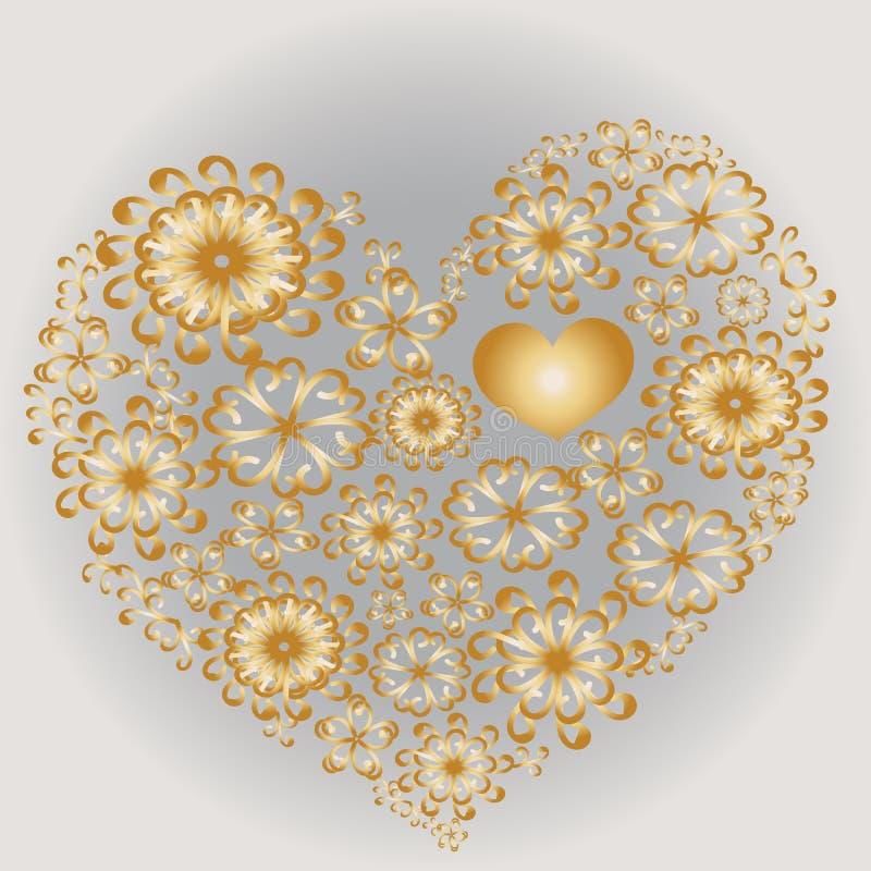 Cuore modellato dorato illustrazione di stock