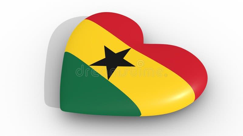 Cuore nei colori della bandiera del Ghana, su un fondo bianco, cima della rappresentazione 3d illustrazione di stock