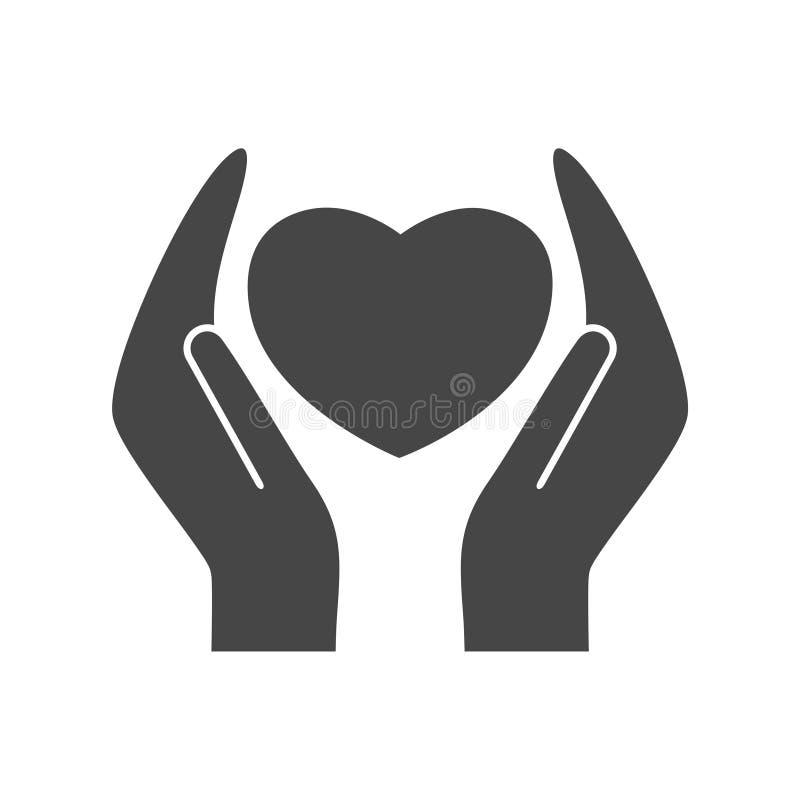 Cuore nell'icona del segno delle mani illustrazione di stock