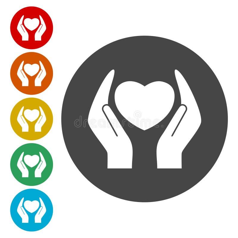 Cuore nelle icone del segno delle mani messe illustrazione di stock