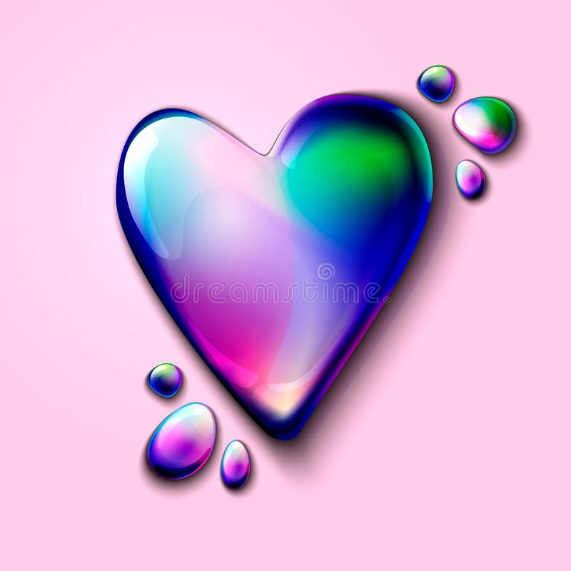 cuore olografico realistico 3D per la pubblicità ed il web cuore volumetrico olografico per le carte di San Valentino 3D olografi illustrazione di stock