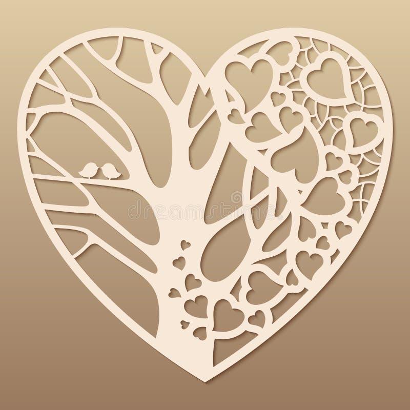 Cuore Openwork con un albero dentro immagine stock