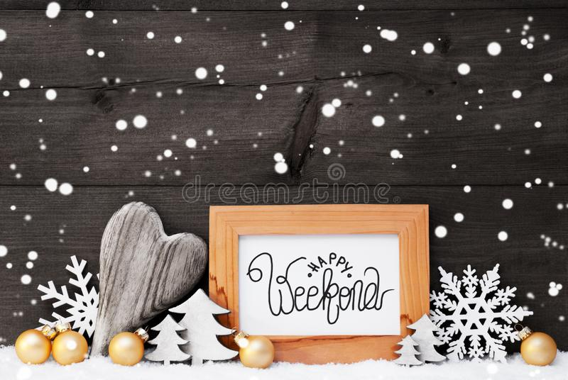 Cuore, Palla d'oro, Albero, Calligraphy Happy Weekend, Sfondo grigio fotografia stock