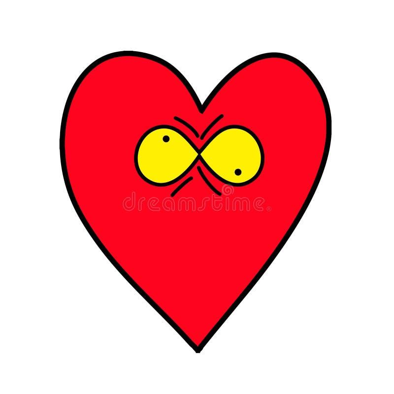 Cuore pazzesco Emoticon del cuore illustrazione vettoriale