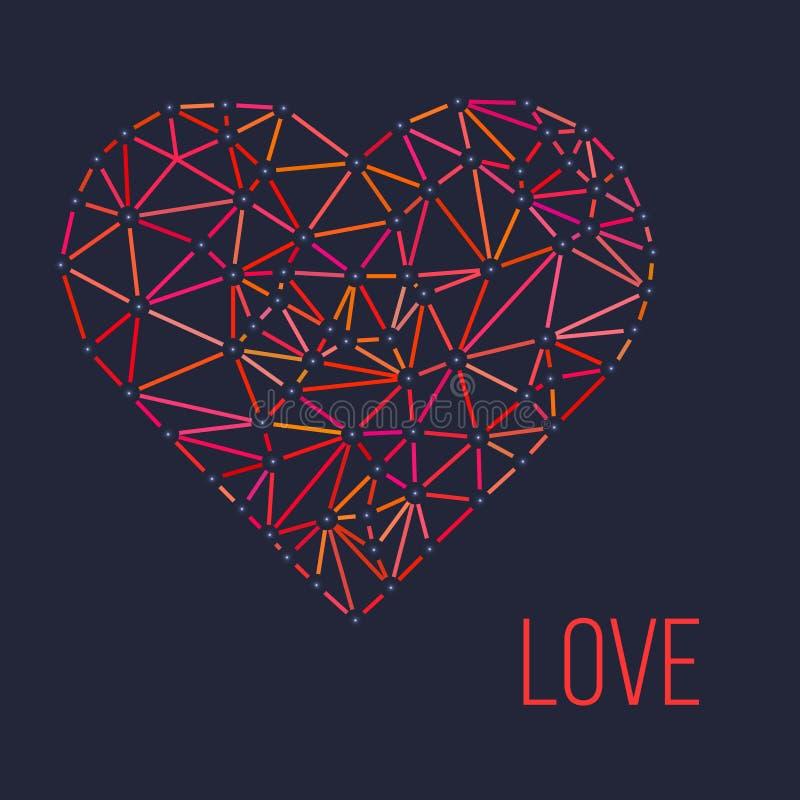 Cuore poligonale del wireframe, vettore di giorno di biglietti di S. Valentino illustrazione di stock
