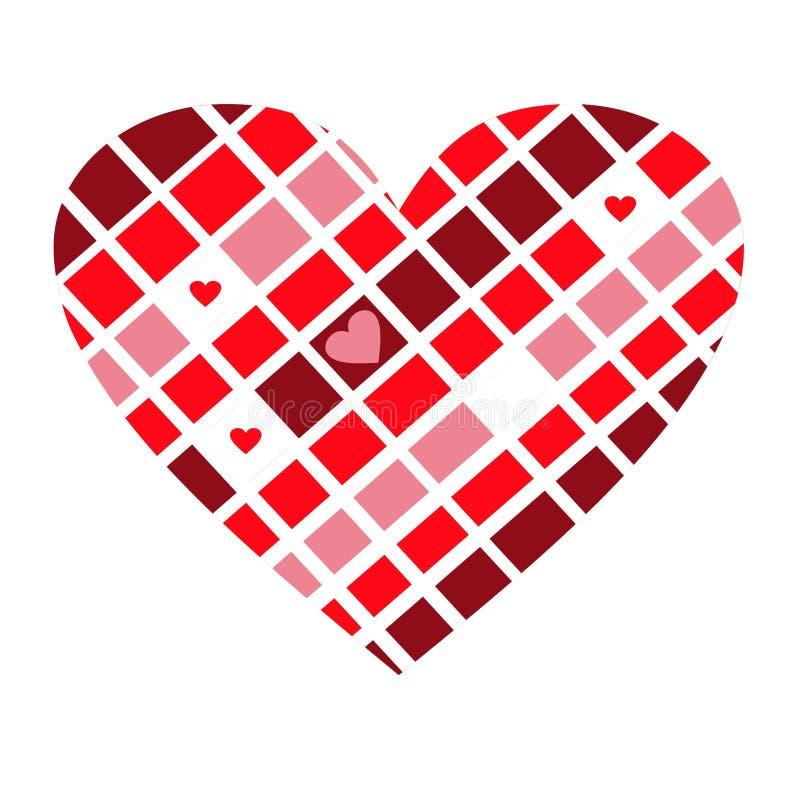 Cuore a quadretti divertente di rosa, di rosso, bianco e colori del cioccolato fotografia stock