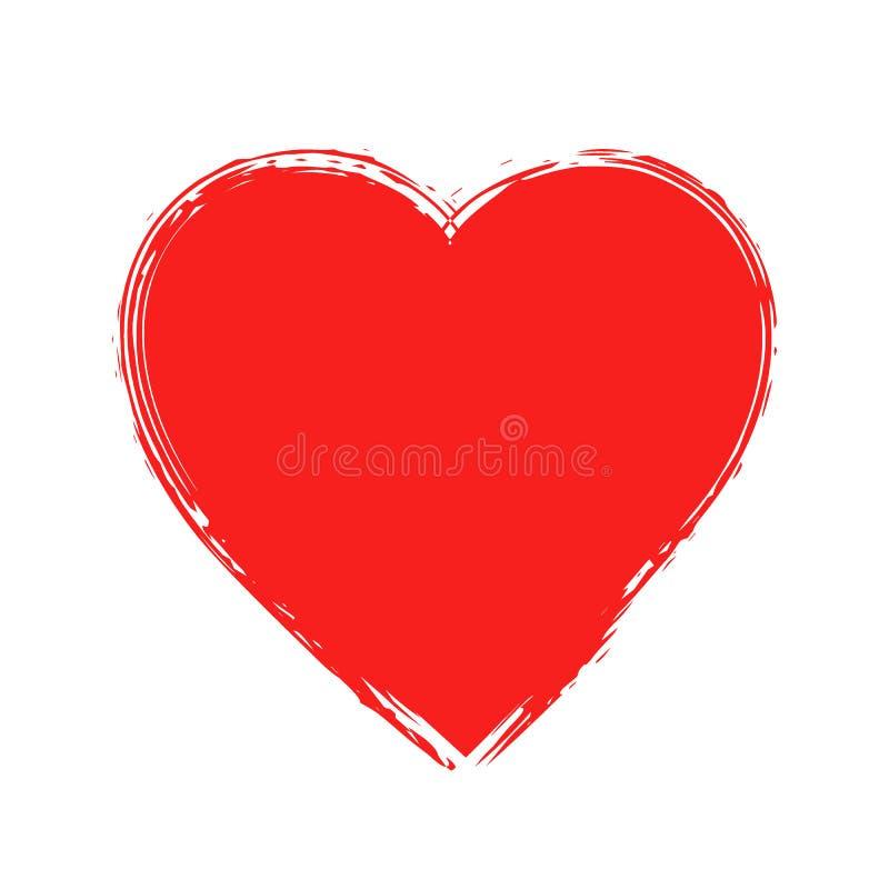Cuore romantico rosso di lerciume su fondo bianco royalty illustrazione gratis
