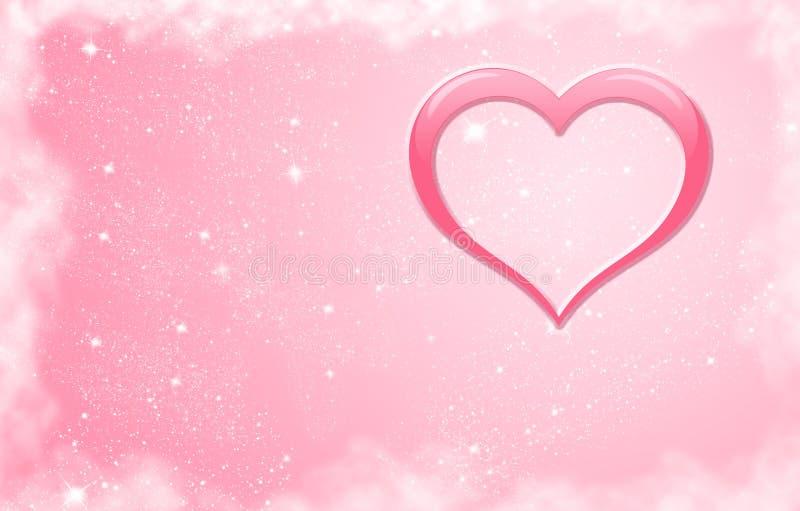 Cuore rosa con le stelle illustrazione di stock