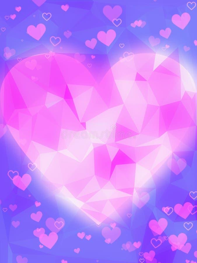Cuore rosa del pixalate con il bokeh blu del fondo royalty illustrazione gratis