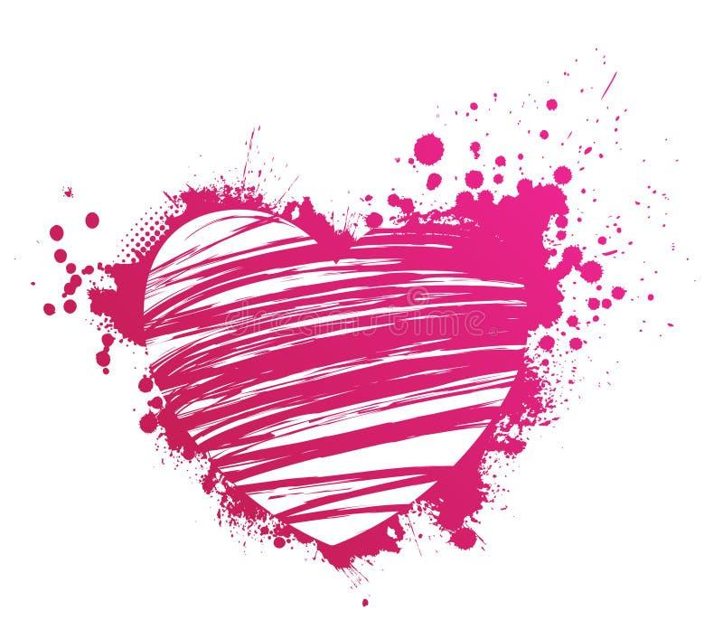 Cuore rosa di lerciume illustrazione vettoriale