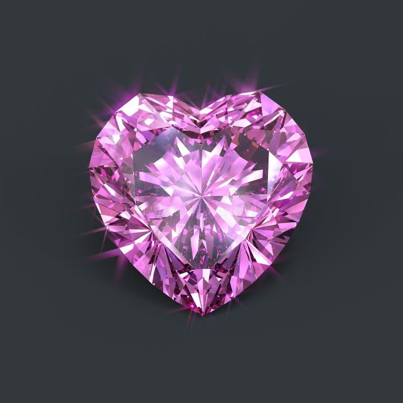 Cuore rosa isolato del diamante a forma di illustrazione di stock