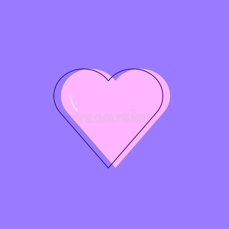 Cuore rosa su un fondo porpora immagine stock