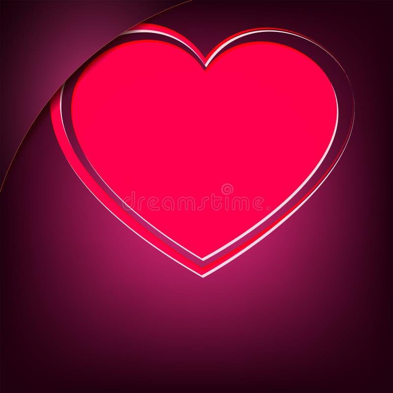 Cuore rosa su un fondo porpora scuro con un angolo illustrazione di stock
