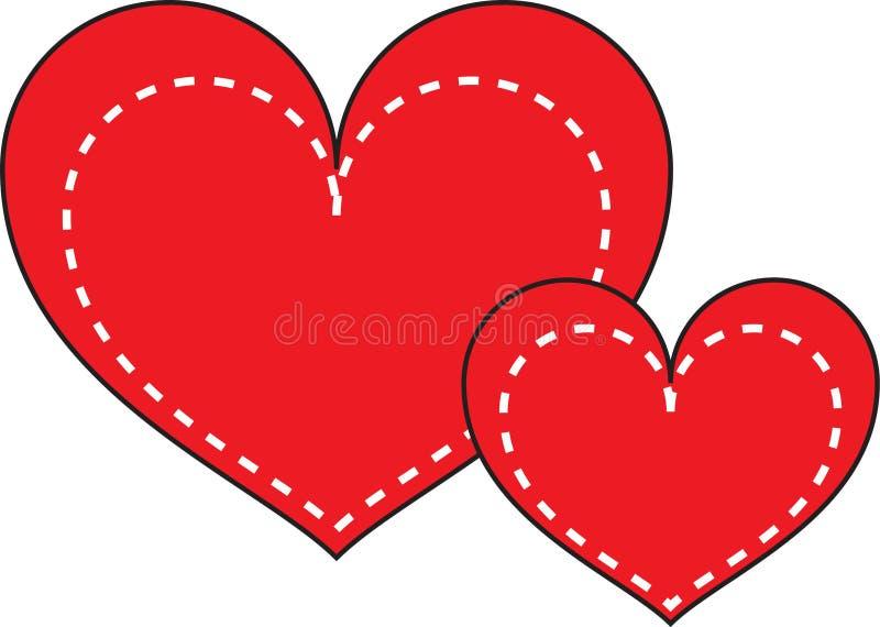 Cuore rosso con cuore bianco tratteggiato illustrazione vettoriale