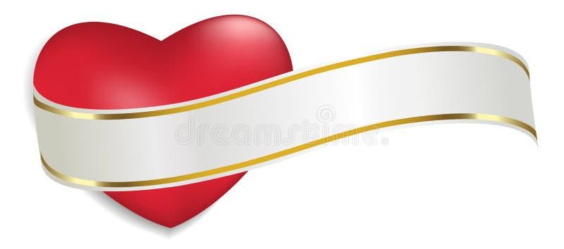 Cuore rosso con il nastro bianco e dorato isolato su fondo bianco Decorazione per il giorno del ` s del biglietto di S. Valentino illustrazione vettoriale