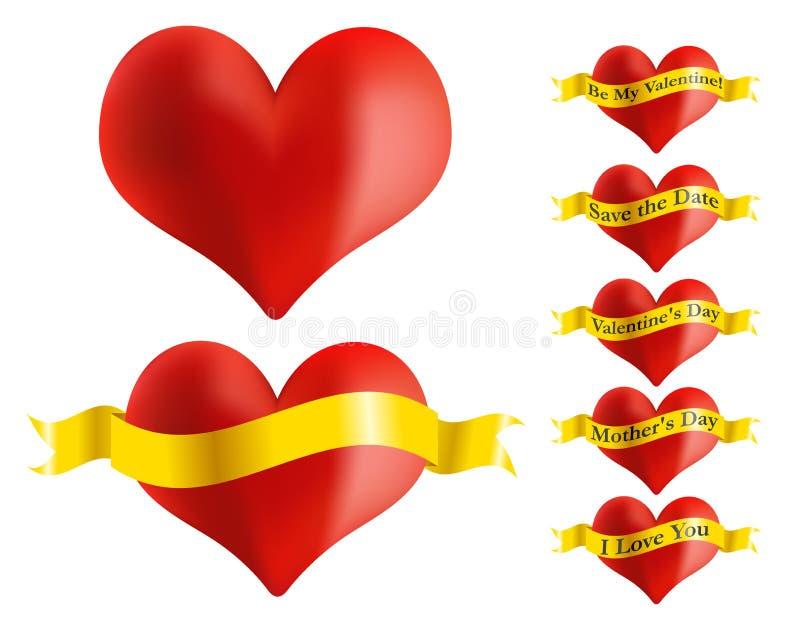Cuore rosso con il nastro dorato illustrazione di stock