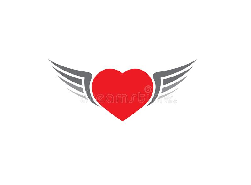 Cuore rosso con l'icona aperta delle ali su fondo bianco per progettazione di logo illustrazione vettoriale