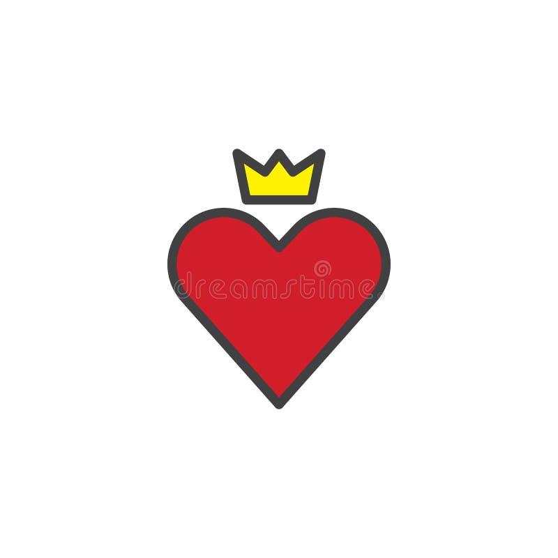 Cuore rosso con l'icona del profilo riempita corona royalty illustrazione gratis