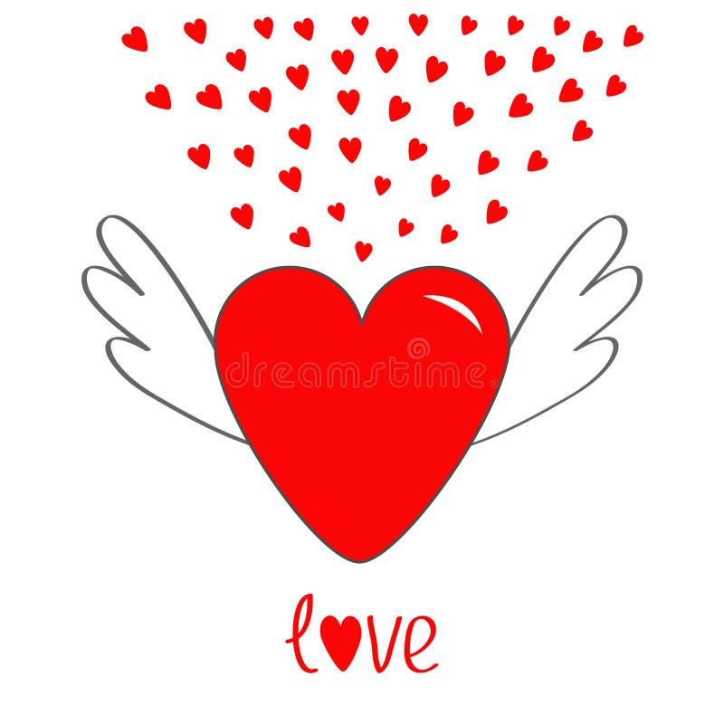 Cuore rosso con le ali Simbolo sveglio del segno di contorno del fumetto Piccoli cuori alati di angelo brillante Stile piano di p royalty illustrazione gratis