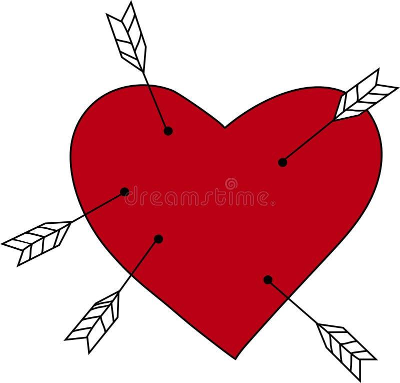 Cuore rosso con le frecce in  illustrazione vettoriale