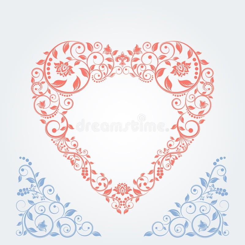 Cuore rosso d'annata Monogramma di nozze Modello floreale elegante per gli inviti e le carte di nozze illustrazione di stock