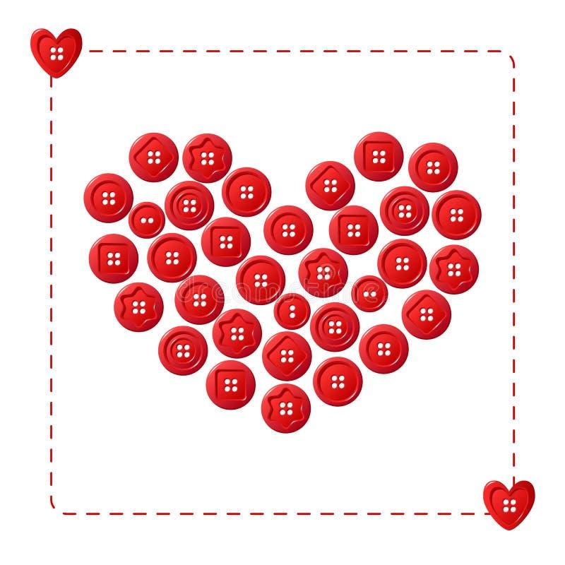 Cuore rosso dai bottoni illustrazione di stock