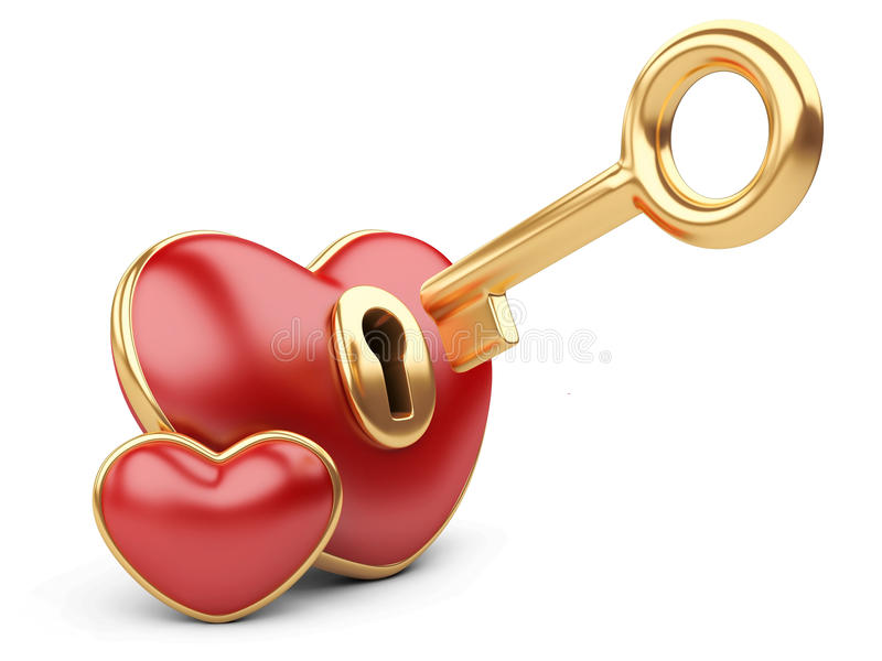 Cuore rosso del biglietto di S. Valentino con un buco della serratura e una chiave. illustrazione di stock