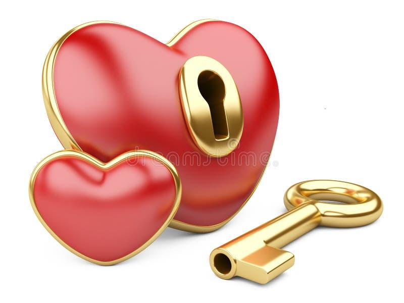 Cuore rosso del biglietto di S. Valentino con un buco della serratura e una chiave. illustrazione vettoriale