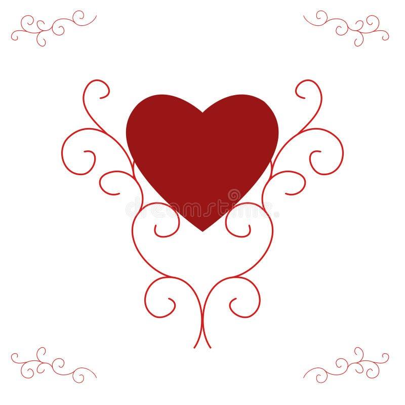 Cuore rosso del biglietto di S. Valentino - rotoli decorati illustrazione di stock