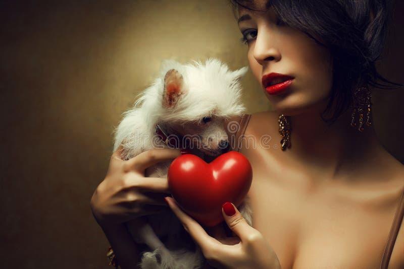 Cuore rosso della tenuta di modello alla moda e piccolo cane crestato cinese bianco fotografia stock