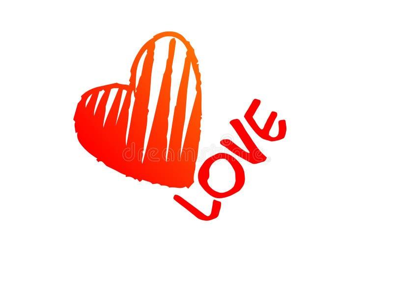 Cuore rosso delle lettere di amore isolato su fondo bianco romanzesco illustrazione vettoriale