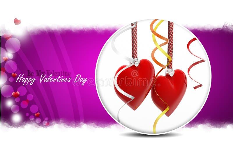 Cuore rosso di amore, concetto di giorno di biglietti di S illustrazione di stock