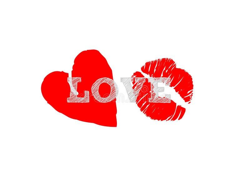 Cuore rosso di bacio dei letetrs di amore isolato su fondo bianco romanzesco illustrazione di stock