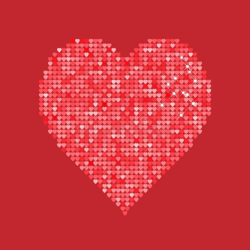 Cuore rosso di scintillio isolato su fondo Illustrazione di vettore Concetto di amore Carta da parati sveglia Buona idea per le v royalty illustrazione gratis