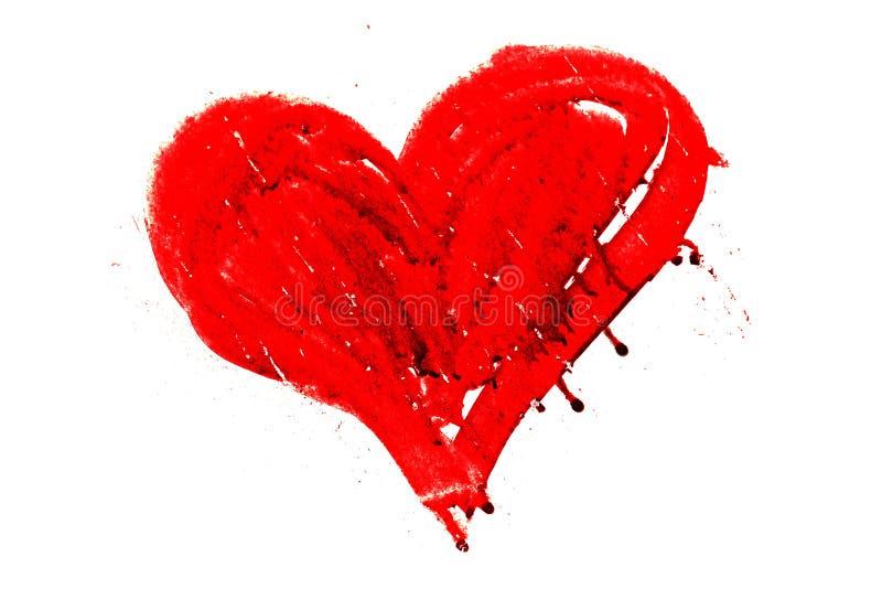 Cuore rosso dipinto disegnato a mano con i gocciolamenti e le imperfezioni asciutte della pittura fotografia stock