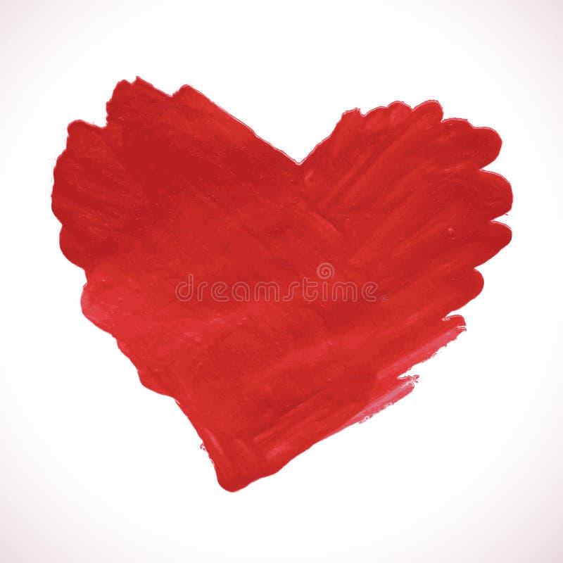 Cuore rosso dipinto disegnato a mano, elemento di vettore royalty illustrazione gratis