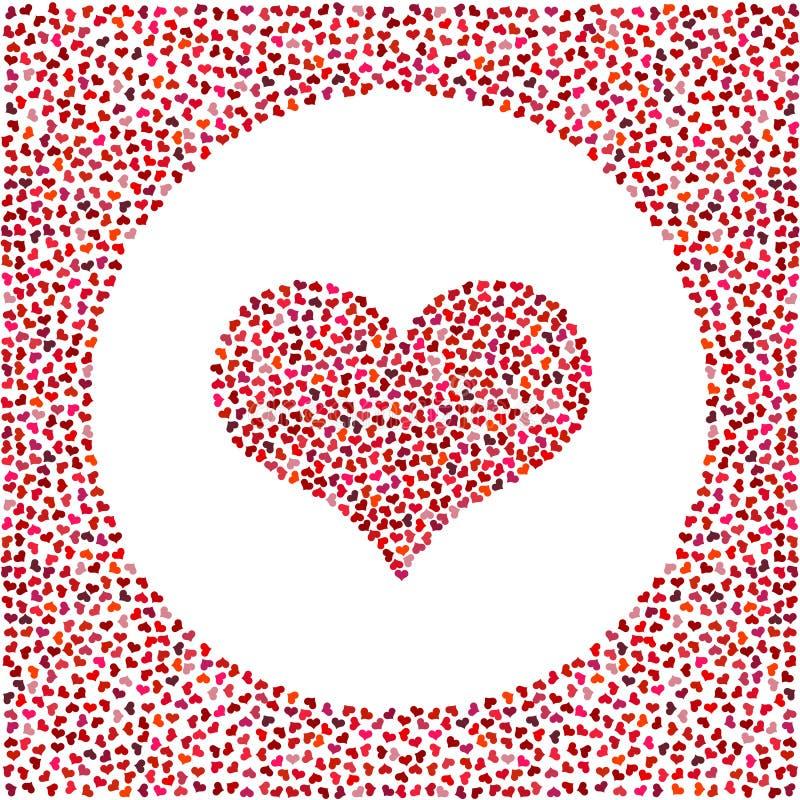 Cuore rosso fatto di piccoli cuori e di piccoli cuori intorno Fondo di giorno di biglietti di S. Valentino con molti cuori royalty illustrazione gratis