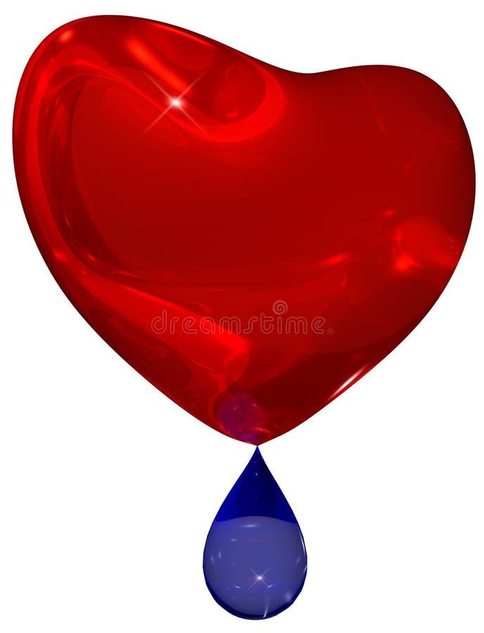 Cuore rosso gridante con goccia blu della rottura immagini stock
