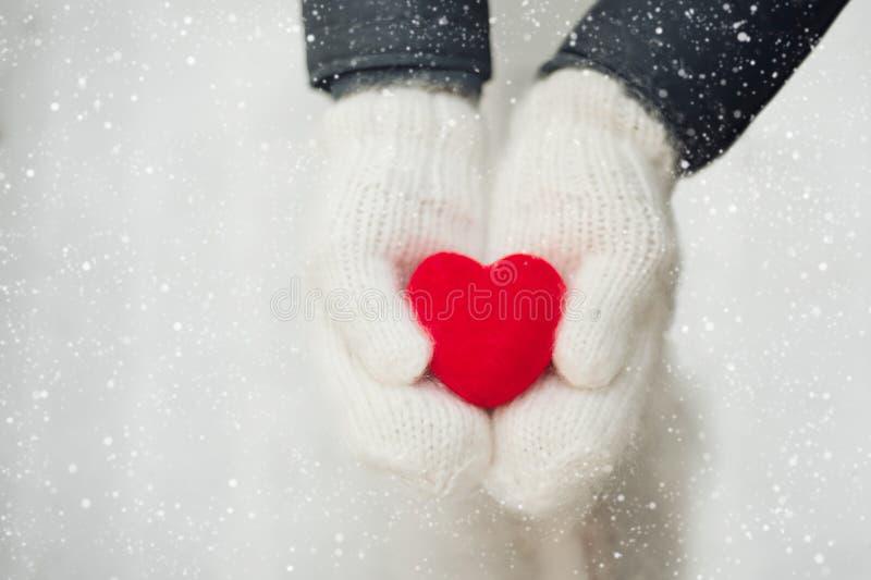 Cuore rosso in mani della donna che indossano i guanti di lana bianchi Concetto di giorno del ` s del biglietto di S fotografia stock libera da diritti